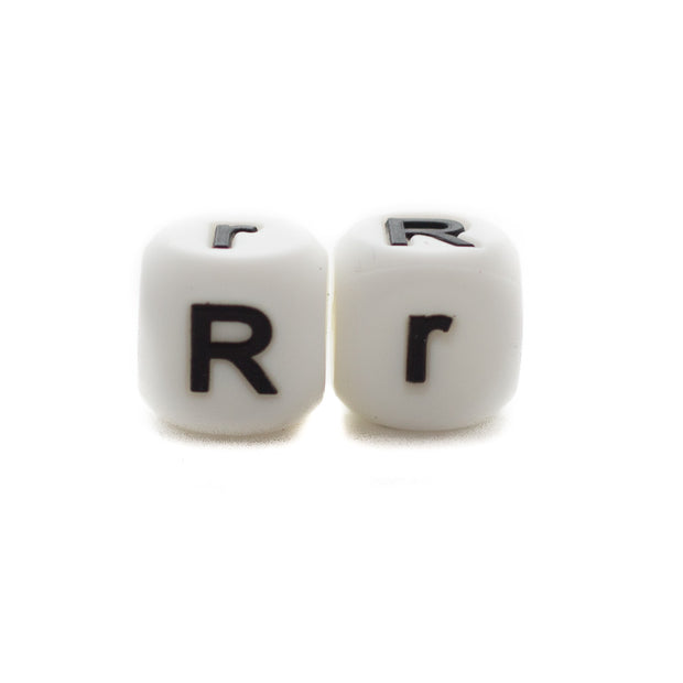 Letter R silicone square letter teething beads that have both capital and lower case font