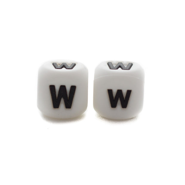 Letter W silicone square letter teething beads that have both capital and lower case font