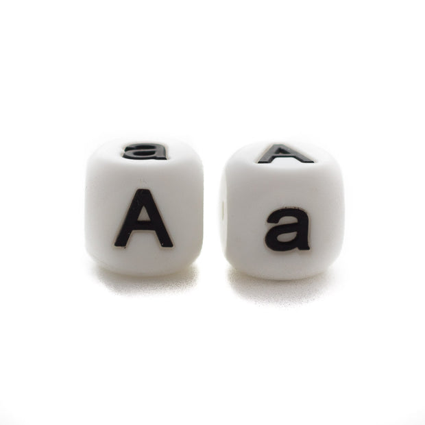 Letter A silicone square letter teething beads that have both capital and lower case font