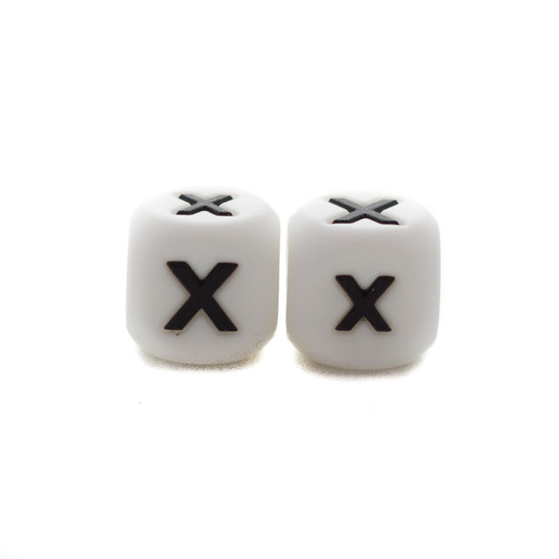 Letter X silicone square letter teething beads that have both capital and lower case font