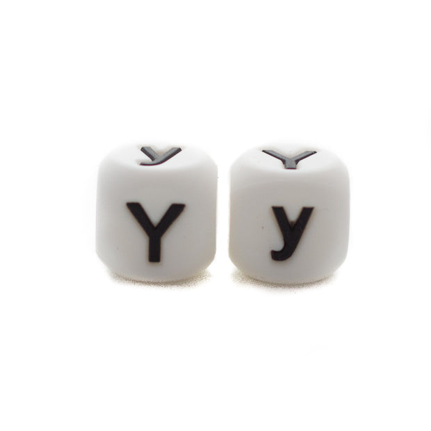 Letter Y silicone square letter teething beads that have both capital and lower case font
