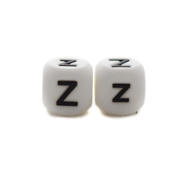Letter Z silicone square letter teething beads that have both capital and lower case font