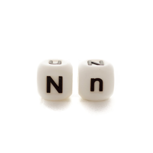 Letter N silicone square letter teething beads that have both capital and lower case font