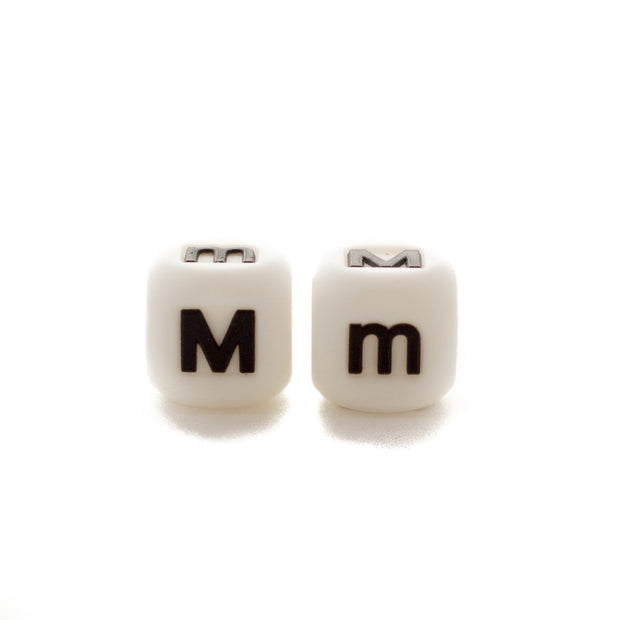 Letter M silicone square letter teething beads that have both capital and lower case font