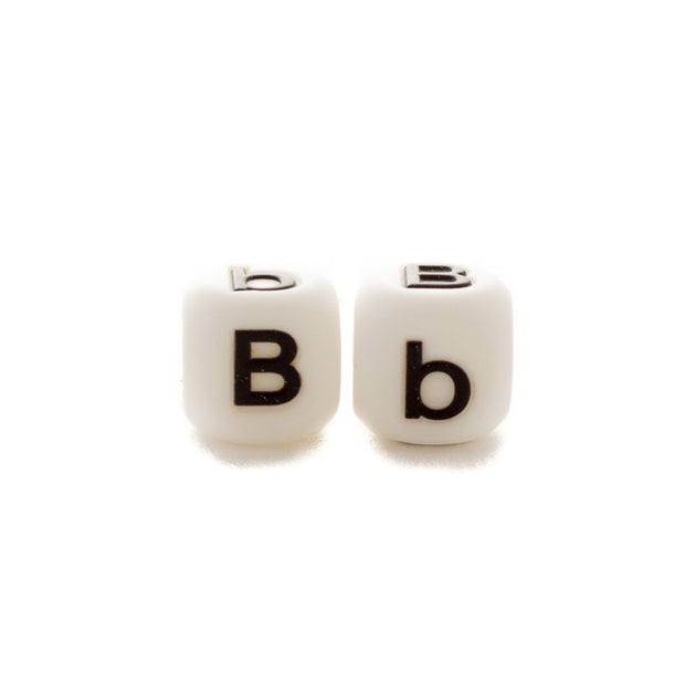 Letter B silicone square letter teething beads that have both capital and lower case font