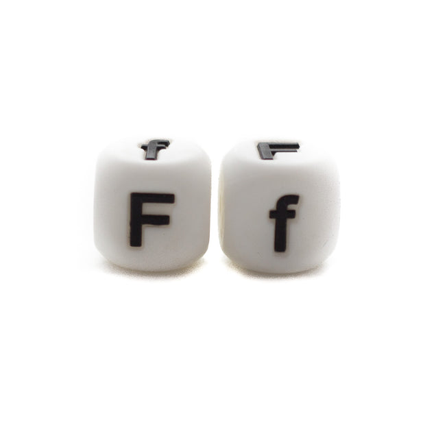 Letter F silicone square letter teething beads that have both capital and lower case font