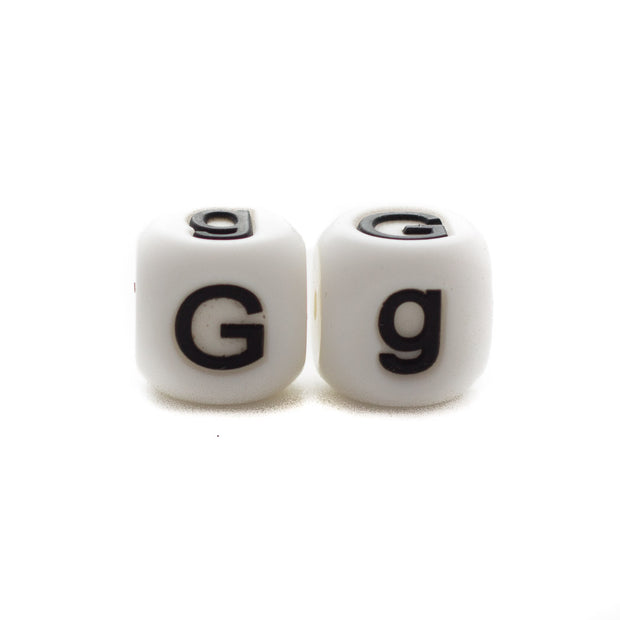 Letter G silicone square letter teething beads that have both capital and lower case font