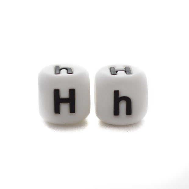 Letter H silicone square letter teething beads that have both capital and lower case font