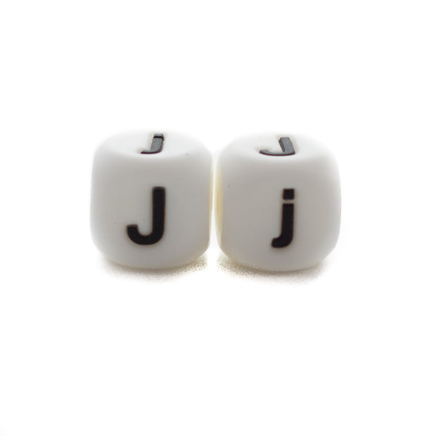 Letter J silicone square letter teething beads that have both capital and lower case font