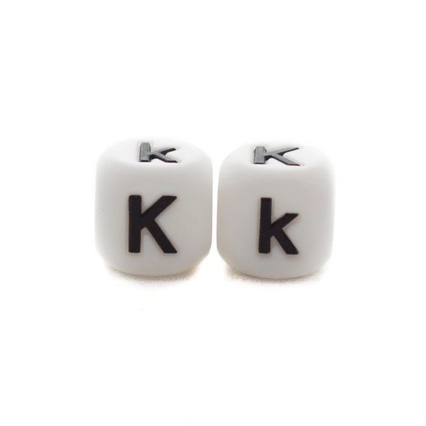Letter K silicone square letter teething beads that have both capital and lower case font