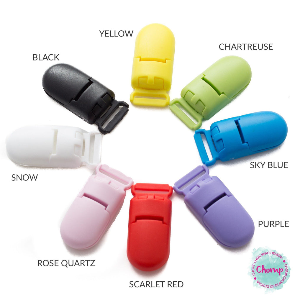 Plastic KAM Style Pacifier Clip - Chomp Chew Bead Designs - Wholesale Silicone Beads for Teething and DIY Chewelry Making