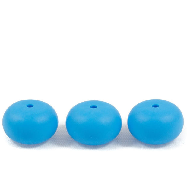 Abacus shaped silicone teething beads that 25mm in size and sky blue in colour