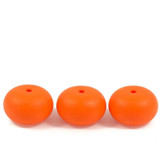Abacus shaped silicone teething beads that 25mm in size and orange in colour