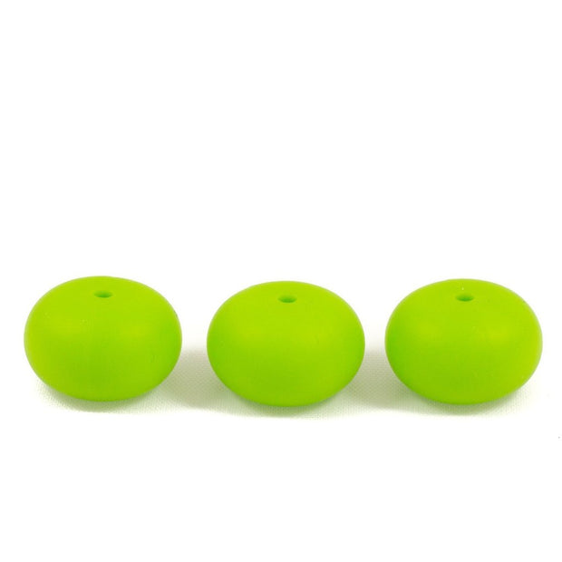Abacus shaped silicone teething beads that 25mm in size and chartreuse in colour