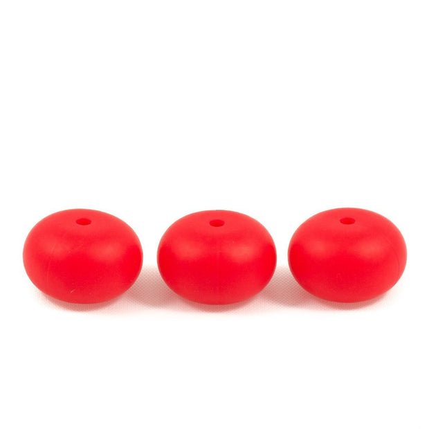 Abacus shaped silicone teething beads that 25mm in size and scarlet read in colour