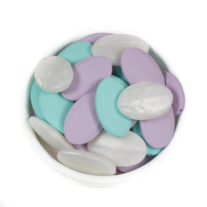 Oval Faceted - Chomp Chew Bead Designs - Wholesale Silicone Beads for Teething and DIY Chewelry Making