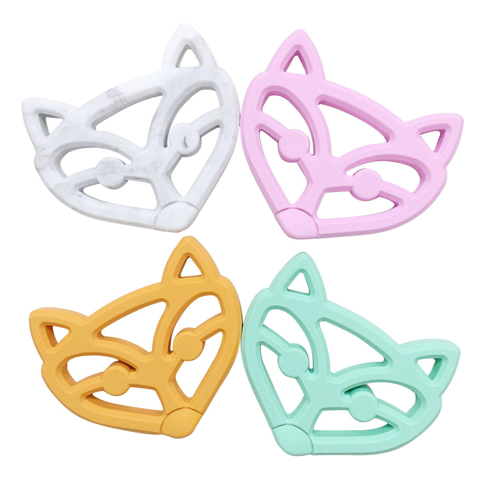 Fox Face Teether - Chomp Chew Bead Designs - Wholesale Silicone Beads for Teething and DIY Chewelry Making