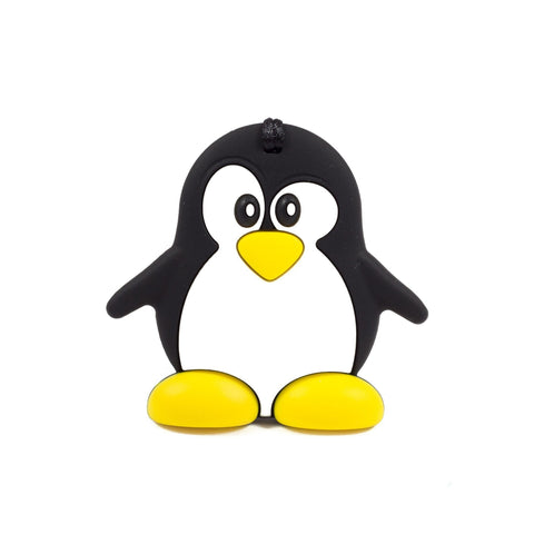 Penguin Silicone Teether - Black - Chomp Chew Bead Designs - Wholesale Silicone Beads for Teething and DIY Chewelry Making