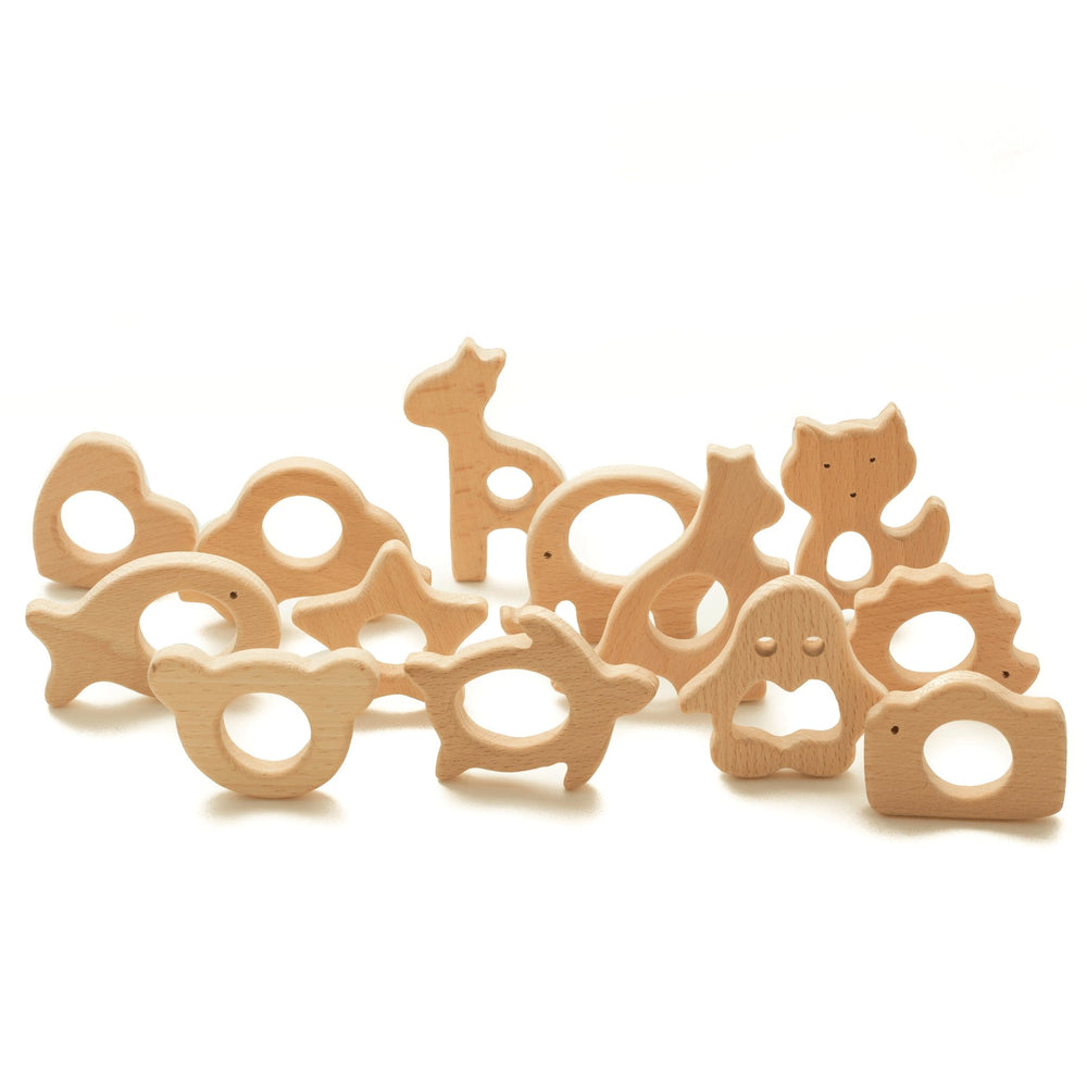 Large Beech Wood Teether Shapes