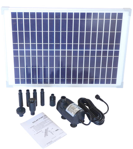 (Refurbished) Solar water pump kit - 360+ GPH with 12v brushless submersible water pump and 20 watt solar panel