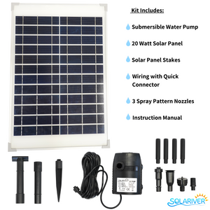 Solariver Solar Water Pump Kit 360+ GPH with 12v Brushless Submersible Water Pump and 20 Watt Solar Panel (Refurbished)
