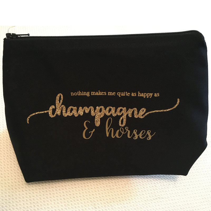 Make Up Bag - Champagne & Horses