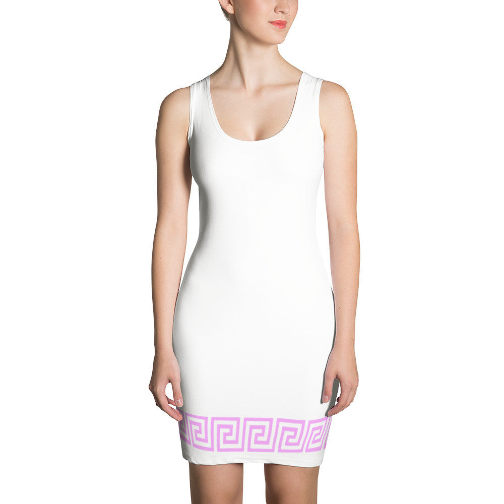 PINK Greek Key bodycon dress - Poetic Gangster