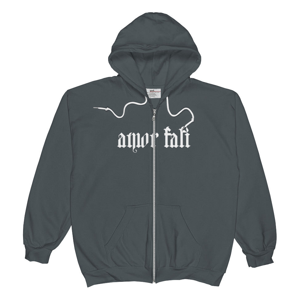 Love Your Fate Charcoal Zip Hoodie - Poetic Gangster