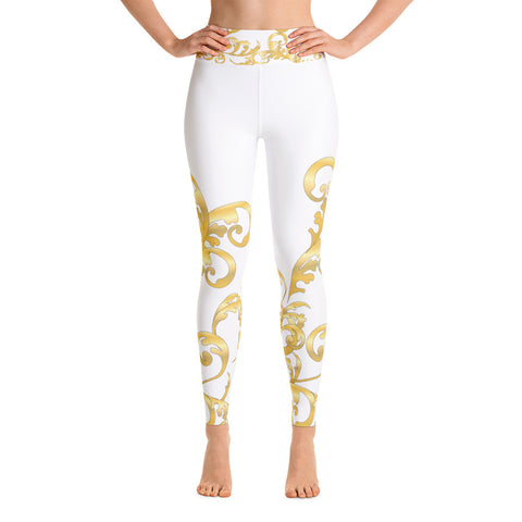 Block Out Side Greek Print Yoga Leggings