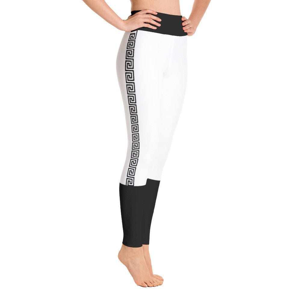 Block Out Side Greek Print Yoga Leggings - Poetic Gangster
