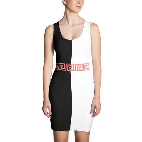 PINK Greek Key bodycon dress