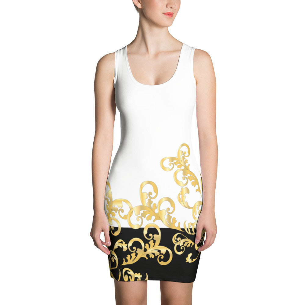Gold Rococo Body-Con Dress - Poetic Gangster