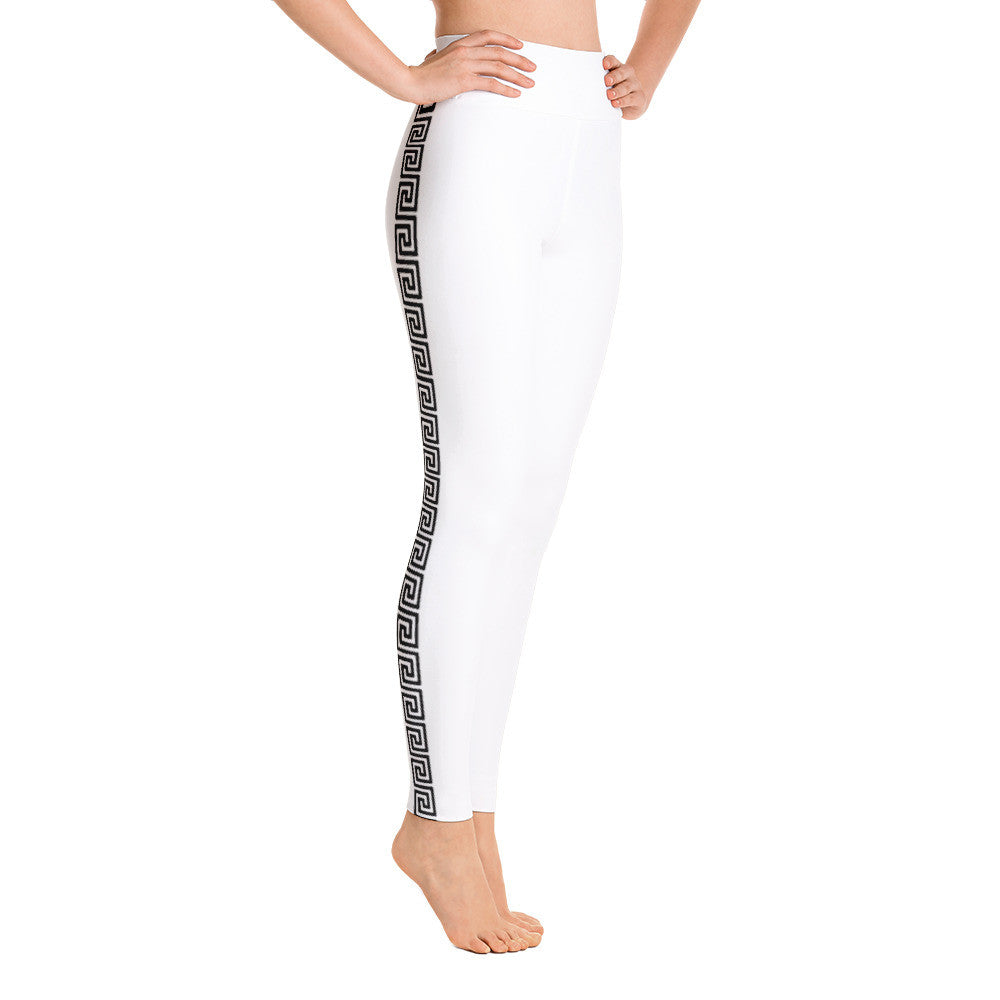 greek key white yoga Leggings - Poetic Gangster