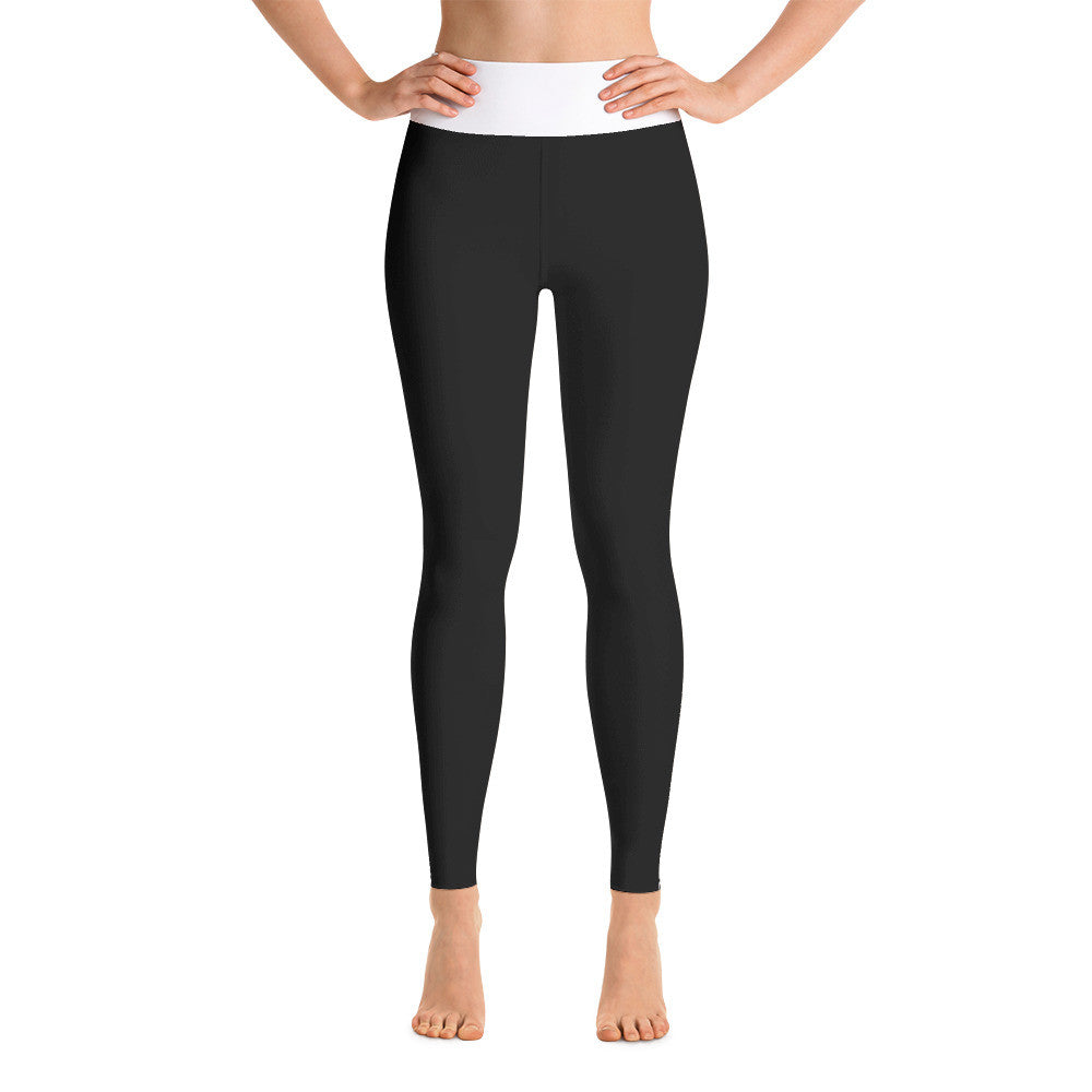 Black White Greek Key Yoga Leggings - Poetic Gangster