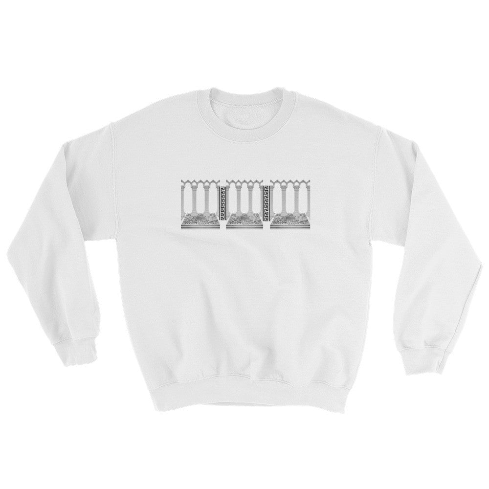 Roman Column White Sweater - Poetic Gangster