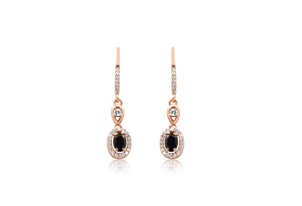 Oeidis Blue Sapphire Rose Gold Earrings