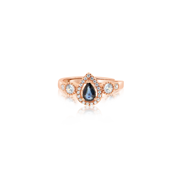 Agori Blue Sapphire Rose Gold Ring