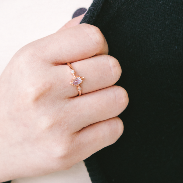 Crucen Moonstone Rose Gold Ring