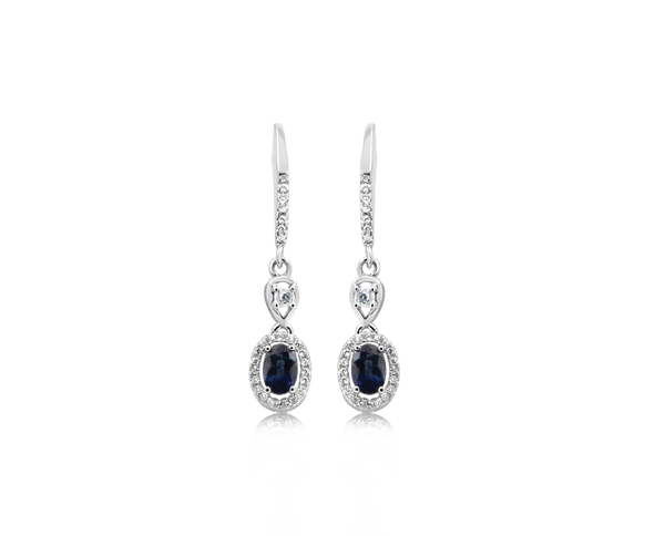 Oeidis Blue Sapphire White Gold Earrings