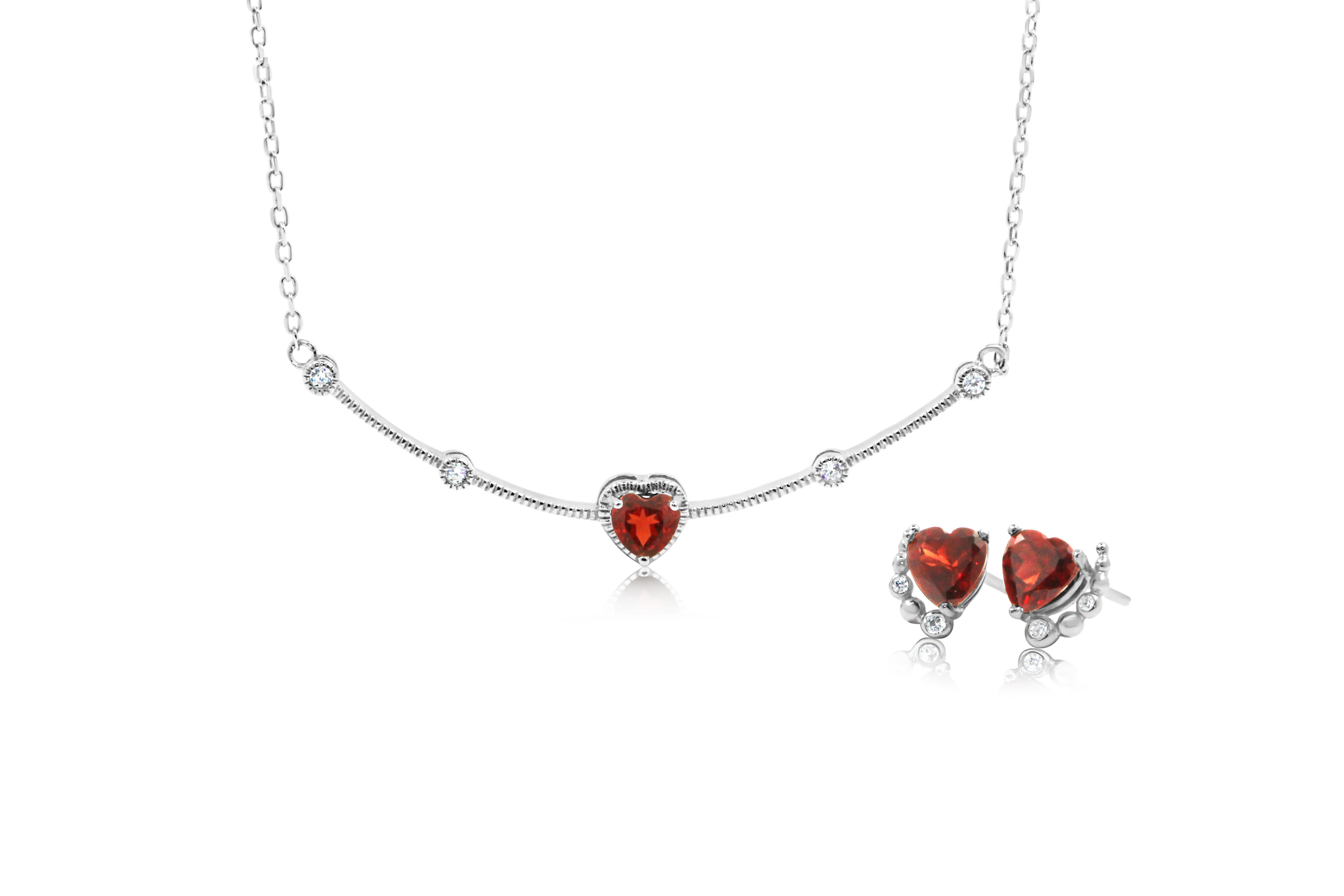 Numai-Unu Heart Garnet Necklace and Earrings Set