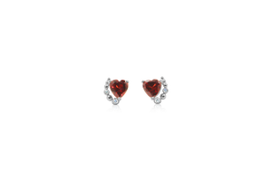 Numai-Unu Heart Garnet White Gold Earrings