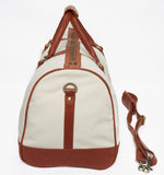 Globetrotter Holdall - Canvas | White/Brown