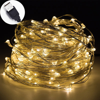 Usb Operated Waterproof 30ft 100 Led Copper Wire String Lights For Weddings Home Bedroom Patio Garden And Party Decoration