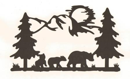 Bears in the woods silhouette