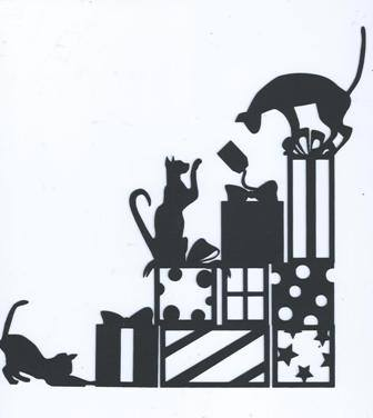 Cats and Christmas gifts silhouette