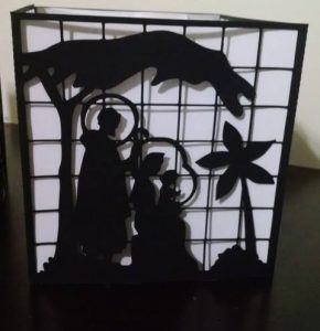 DIY stained glass Nativity luminary