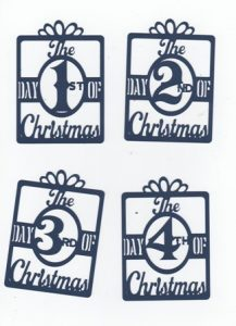 12 Days of Christmas block with bow design set of twelve