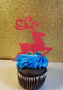Double sided reindeer cupcake topper set of 12