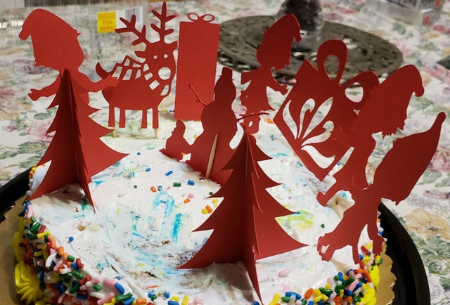 Winter scene cake toppers set number two, set of 10