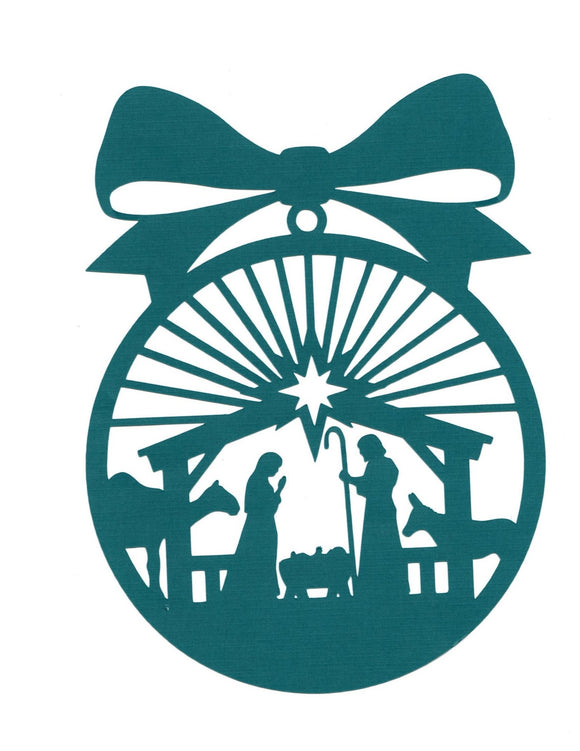 Large Nativity Christmas ornament silhouette